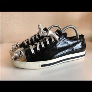 Miu miu metal cap Swarovski Crystal sneakers Sz 39